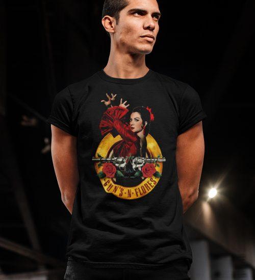 gunsandflores+camisetaHOMBRE+negra(PRINCIPAL)-M